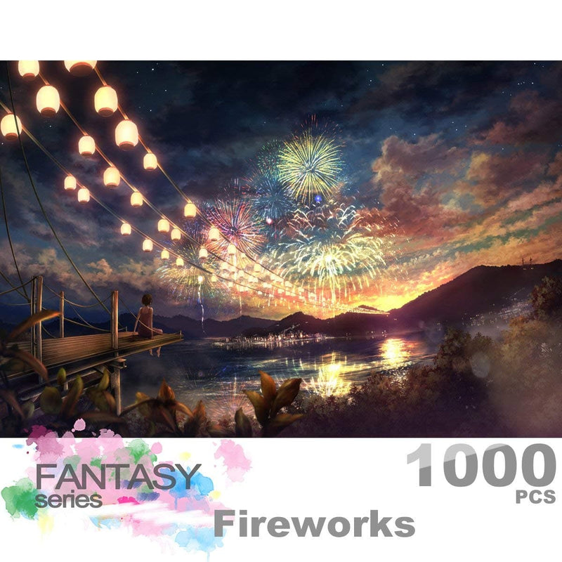 Ingooood Wooden Jigsaw Puzzle 1000 Pieces for Adult - Sky Fireworks - Ingooood_US