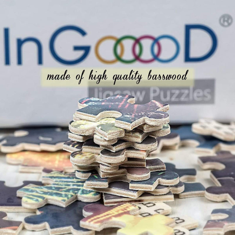 Ingooood Wooden Jigsaw Puzzle 1000 Pieces for Adult - Sky Fireworks - Ingooood