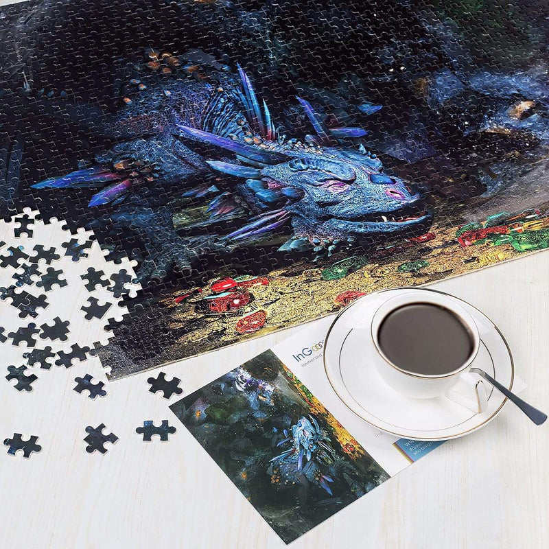 Ingooood Wooden Jigsaw Puzzle 1000 Pieces for Adult - Blue Dragon - Ingooood_US