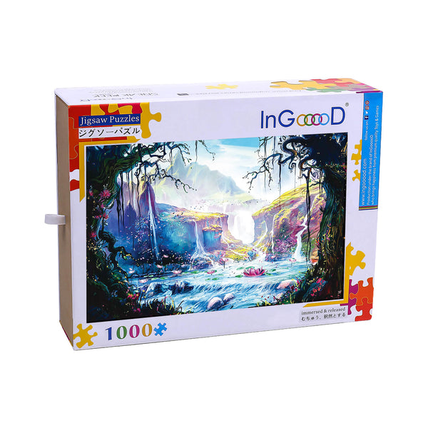 Ingooood-Jigsaw Puzzle 1000 Pieces-Sneak Peek Series-Lotus Pond in Wonderland_IG-1187 Entertainment Toys for Adult Special Graduation or Birthday Gift Home Decor - Ingooood_US