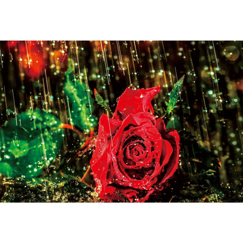 Ingooood Wooden Jigsaw Puzzle 1000 Pieces for Adult-Rose in the rain