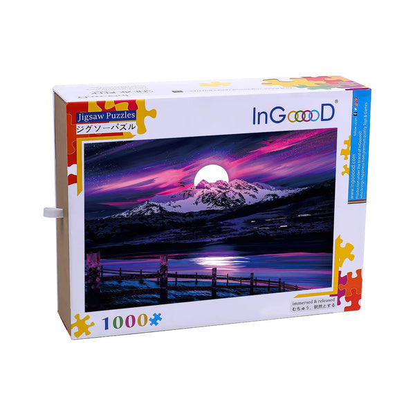 Ingooood Wooden Jigsaw Puzzle 1000 Pieces for Adult-Bright Moon on Snow Mountain - Ingooood jigsaw puzzle 1000 piece