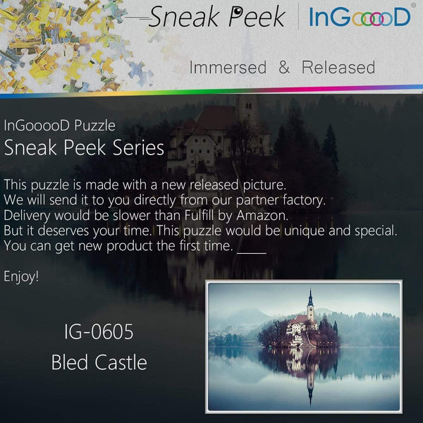 Ingooood- Jigsaw Puzzle 1000 Pieces-Sneak Peek Series- Bled Castle_IG-0605 - Ingooood