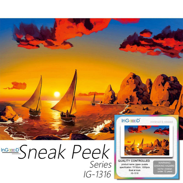 Ingooood-Jigsaw Puzzle 1000 Pieces-Sneak Peek Series-Boat at Dusk_IG-1316 Entertainment Toys for Adult Special Graduation or Birthday Gift Home Decor - Ingooood