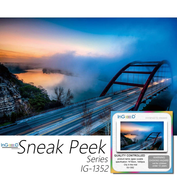 Ingooood-Jigsaw Puzzle 1000 Pieces-Sneak Peek Series-City in The Mist_IG-1352 Entertainment Toys for Adult Special Graduation or Birthday Gift Home Decor - Ingooood