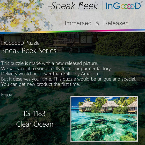 Ingooood-Jigsaw Puzzle 1000 Pieces-Sneak Peek Series-Clear Ocean_IG-1183 Entertainment Toys for Adult Special Graduation or Birthday Gift Home Decor - Ingooood