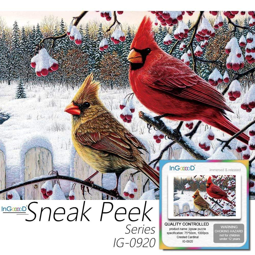 Ingooood-Jigsaw Puzzle 1000 Pieces-Sneak Peek Series-Crested Cardinal_IG-0920 Entertainment for Adult Special Graduation or Birthday Gift Home Decor - Ingooood