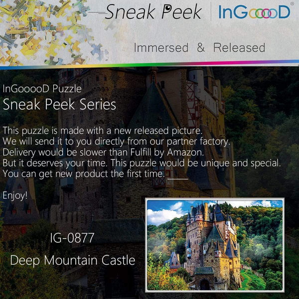 Ingooood-Jigsaw Puzzle 1000 Pieces- Sneak Peek Series-Deep Mountain Castle_IG-0877 Entertainment Toys for Adult Graduation or Birthday Gift Home Decor - Ingooood
