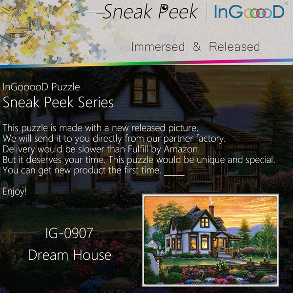Ingooood- Jigsaw Puzzle 1000 Pieces- Sneak Peek Series-Dream House_IG-0907 Entertainment Toys for Adult Special Graduation or Birthday Gift Home Decor - Ingooood