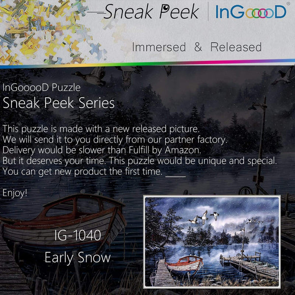 Ingooood-Jigsaw Puzzle 1000 Pieces-Sneak Peek Series-Early Snow_IG-1040 Entertainment Toys for Adult Special Graduation or Birthday Gift Home Decor - Ingooood