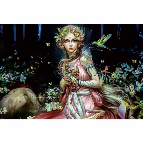 Ingooood-Jigsaw Puzzle 1000 Pieces-Sneak Peek Series-Flower bush Girl_IG-1545 Entertainment Toys for Adult Graduation or Birthday Gift Home Decor - Ingooood_US