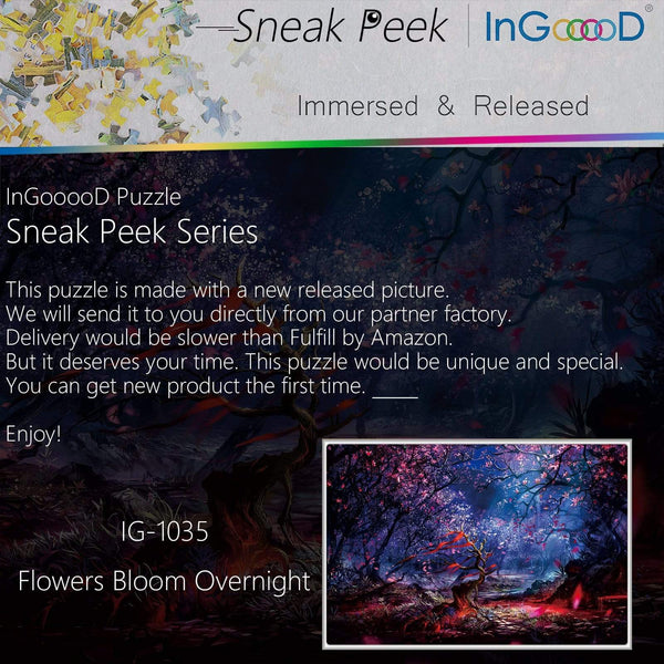 Ingooood-Jigsaw Puzzle 1000 Pieces-Sneak Peek Series-Flowers Bloom Overnight_IG-1035 Entertainment Toys for Graduation or Birthday Gift Home Decor - Ingooood