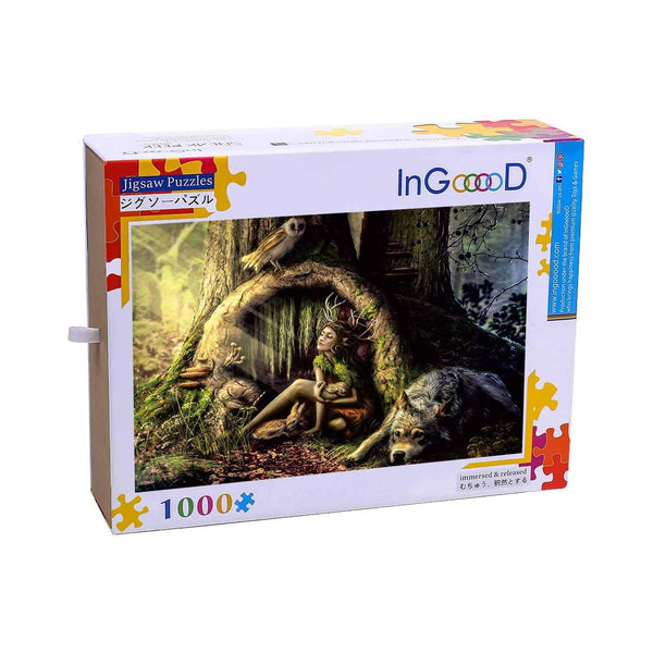 Ingooood-Jigsaw Puzzle 1000 Pieces-Sneak Peek Series-Forest Elf_IG-1553 Entertainment Toys for Adult Graduation or Birthday Gift Home Decor - Ingooood_US