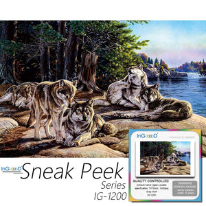 Ingooood-Jigsaw Puzzle 1000 Pieces-Sneak Peek Series- Gray Wolf_IG-1200 Entertainment Toys for Adult Special Graduation or Birthday Gift Home Decor - Ingooood