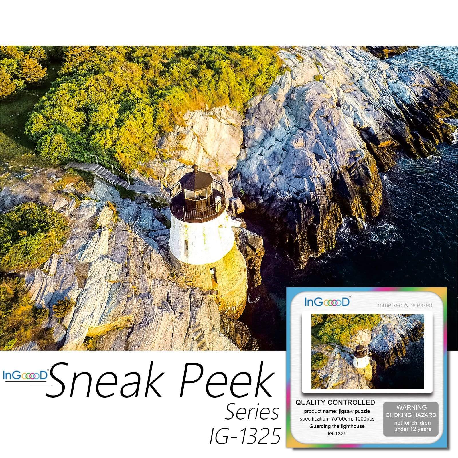Ingooood-Jigsaw Puzzle 1000 Pieces-Sneak Peek Series-Guarding the lighthouse_IG-1325 Entertainment Toys for Adult Special Graduation or Birthday Gift Home Decor - Ingooood