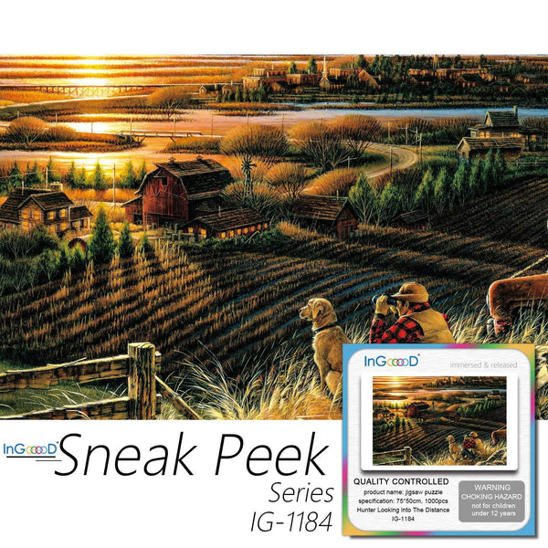 Ingooood-Jigsaw Puzzle 1000 Pieces-Sneak Peek Series-Hunter Looking into The Distance_IG-1184 Entertainment Toys for Adult Special Graduation or Birthday Gift Home Decor - Ingooood