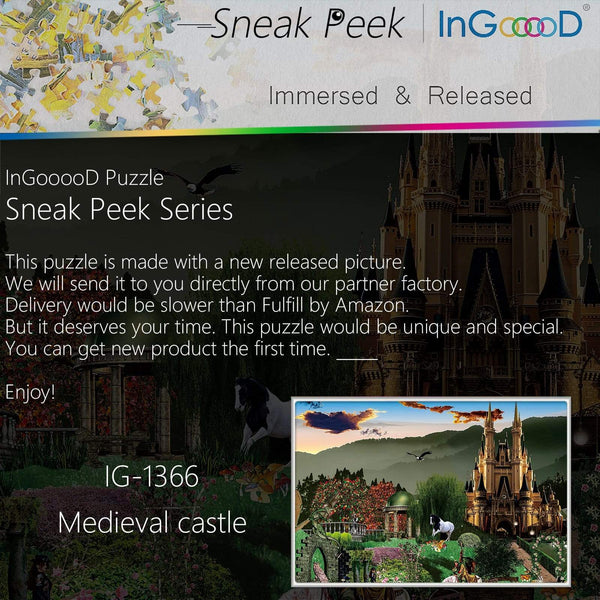 Ingooood-Jigsaw Puzzle 1000 Pieces-Sneak Peek Series-Medieval Castle_IG-1366 Entertainment Toys for Adult Special Graduation or Birthday Gift Home Decor - Ingooood