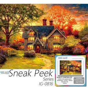 Ingooood-Jigsaw Puzzle 1000 Pieces-Sneak Peek Series-Mountain Villa_IG-0816 Entertainment Toy for Adult Special Graduation or Birthday Gift Home Decor - Ingooood