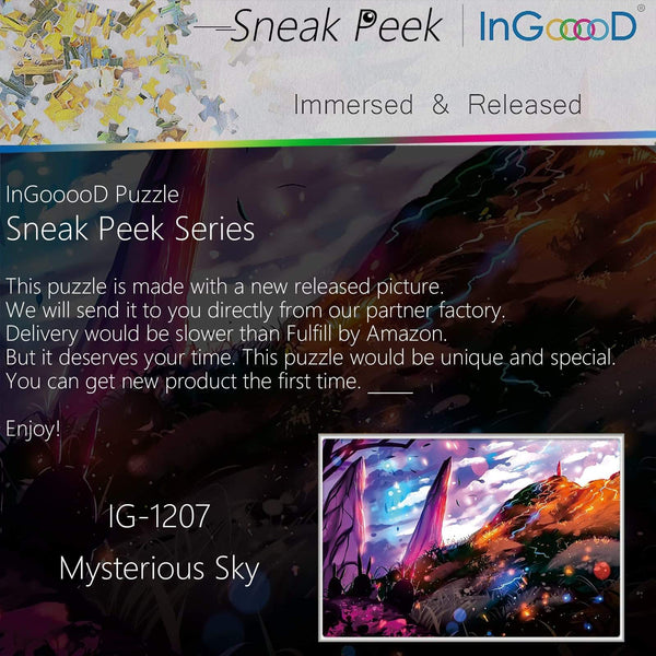 Ingooood-Jigsaw Puzzle 1000 Pieces-Sneak Peek Series-Mysterious Sky_IG-1207 Entertainment Toys for Adult Special Graduation or Birthday Gift Home Decor - Ingooood