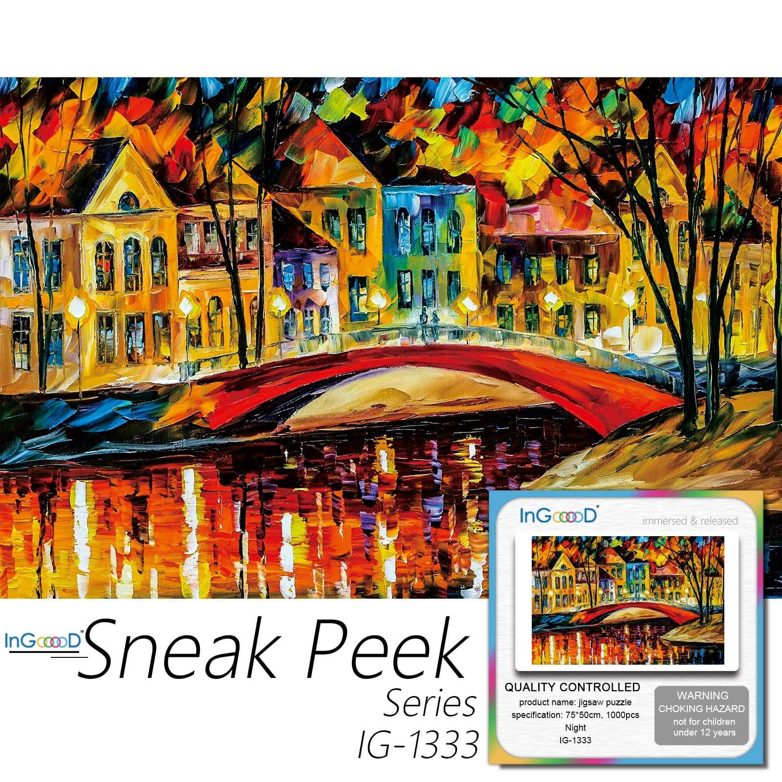Ingooood-Jigsaw Puzzle 1000 Pieces-Sneak Peek Series-Night_IG-1333 Entertainment Toys for Adult Special Graduation or Birthday Gift Home Decor - Ingooood