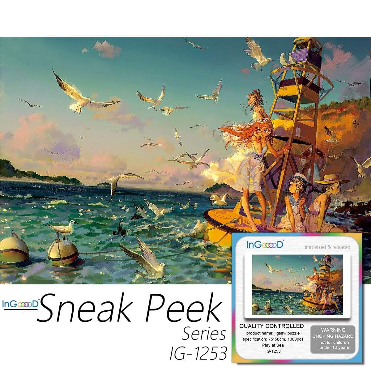 Ingooood-Jigsaw Puzzle 1000 Pieces-Sneak Peek Series-Play at Sea_IG-1253 Entertainment Toys for Adult Special Graduation or Birthday Gift Home Decor - Ingooood