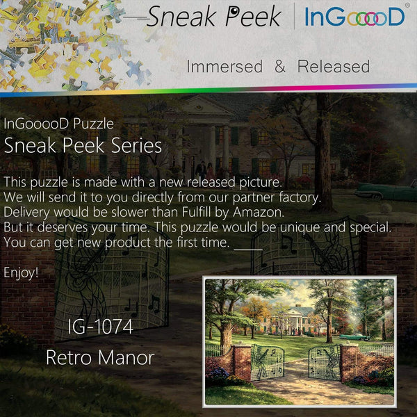 Ingooood-Jigsaw Puzzle 1000 Pieces-Sneak Peek Series- Retro Manor_IG-1074 Entertainment Toys for Adult Special Graduation or Birthday Gift Home Decor - Ingooood