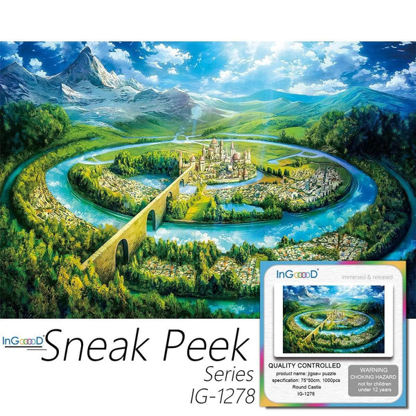 Ingooood-Jigsaw Puzzle 1000 Pieces-Sneak Peek Series-Round Castle_IG-1278 Entertainment Toys for Adult Special Graduation or Birthday Gift Home Decor - Ingooood