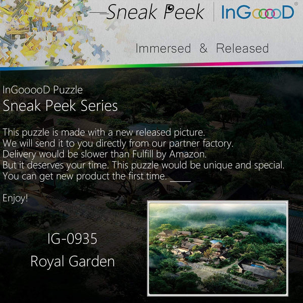 Ingooood-Jigsaw Puzzle 1000 Pieces-Sneak Peek Series-Royal Garden_IG-0935 Entertainment Toys for Adult Special Graduation or Birthday Gift Home Decor - Ingooood