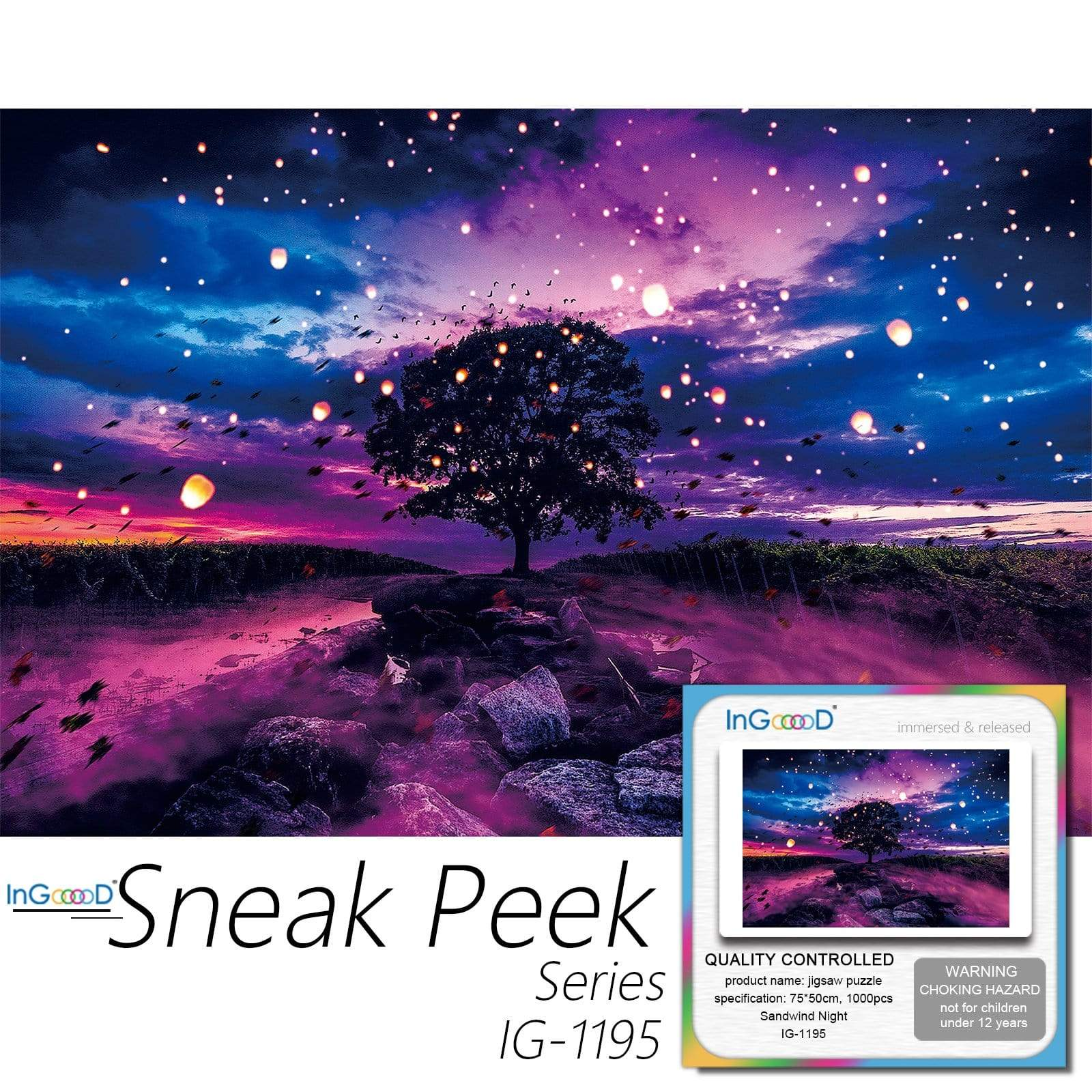 Ingooood-Jigsaw Puzzle 1000 Pieces-Sneak Peek Series-Sandwind Night_IG-1195 Entertainment Toys for Adult Special Graduation or Birthday Gift Home Decor - Ingooood