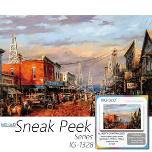 Ingooood-Jigsaw Puzzle 1000 Pieces-Sneak Peek Series-Small Town time_IG-1328 Entertainment Toys for Adult Special Graduation or Birthday Gift Home Decor - Ingooood