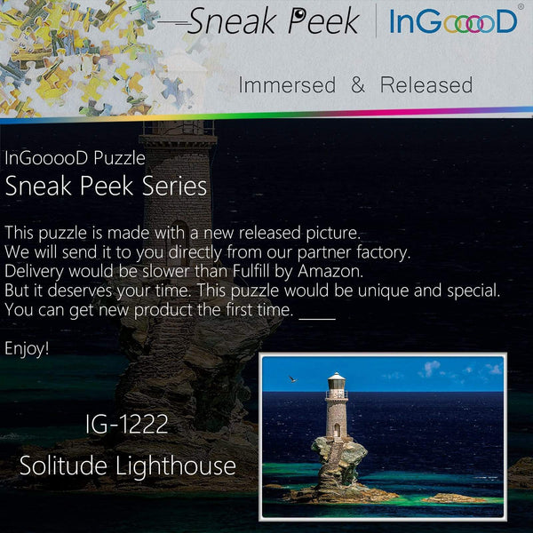 Ingooood-Jigsaw Puzzle 1000 Pieces-Sneak Peek Series-Solitude Lighthouse_IG-1222 Entertainment Toys for Adult Special Graduation or Birthday Gift Home Decor - Ingooood