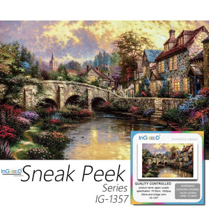 Ingooood-Jigsaw Puzzle 1000 Pieces-Sneak Peek Series-Stone Arch Bridge Room_IG-1357 Entertainment Toys for Adult Special Graduation or Birthday Gift Home Decor - Ingooood
