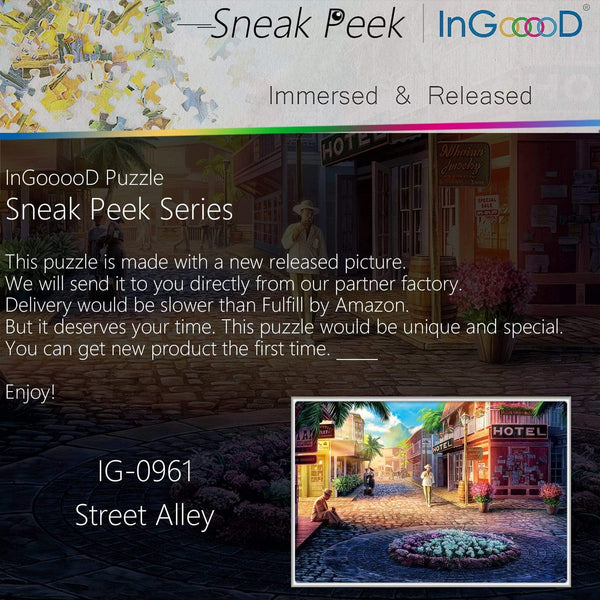 Ingooood-Jigsaw Puzzle 1000 Pieces-Sneak Peek Series-Street Alley_IG-0961 Entertainment Toys for Adult Special Graduation or Birthday Gift Home Decor - Ingooood