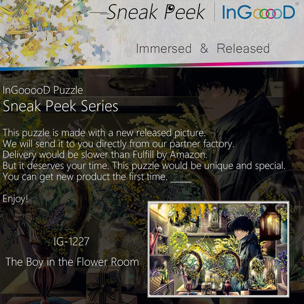Ingooood-Jigsaw Puzzle 1000 Pieces-Sneak Peek Series-The Boy in The Flower Room_IG-1227 Entertainment Toys for Adult Special Graduation or Birthday Gift Home Decor - Ingooood