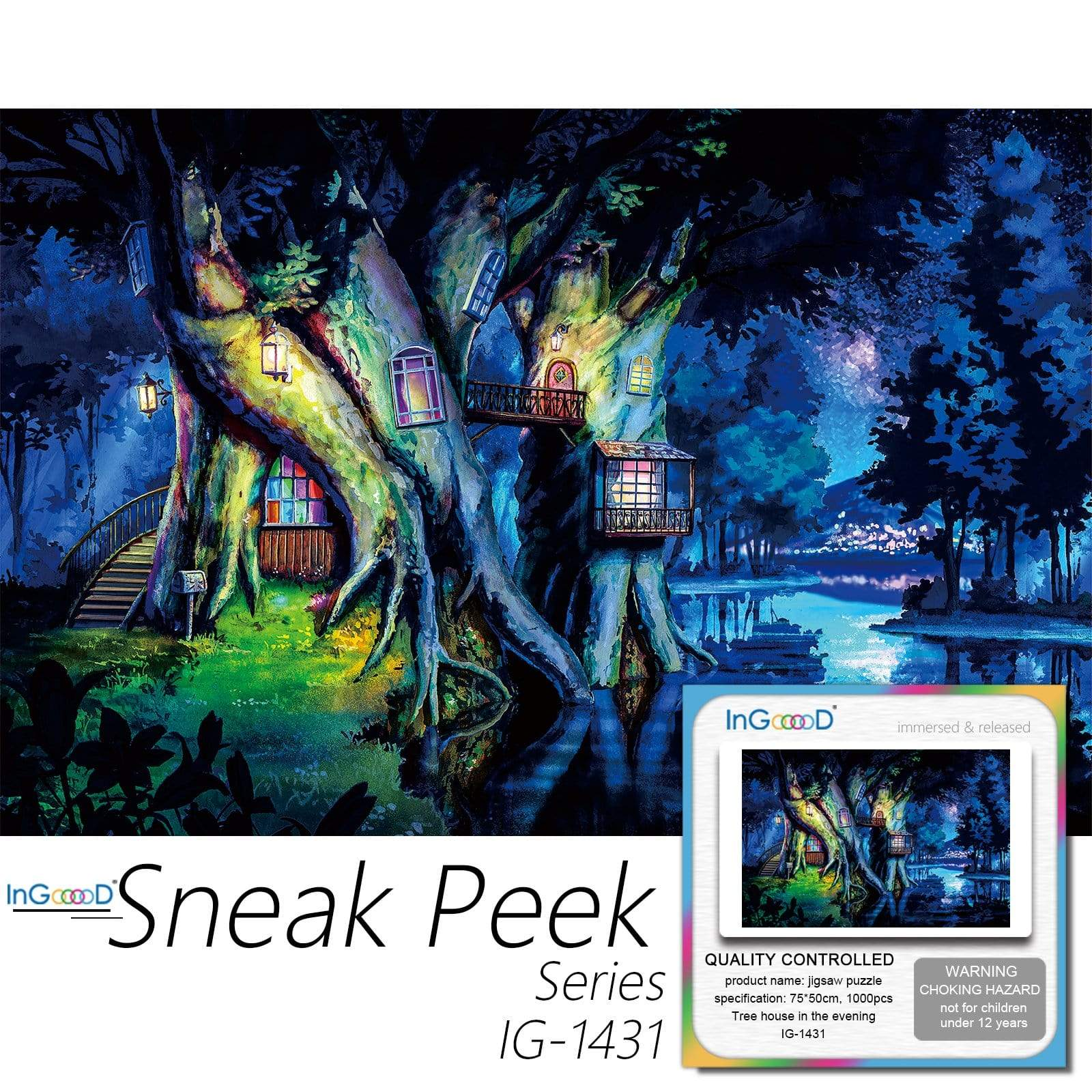 Ingooood-Jigsaw Puzzle 1000 Pieces-Sneak Peek Series-Tree house in the evening_IG-1431 Entertainment Toys for Adult Graduation or Birthday Gift Home Decor - Ingooood