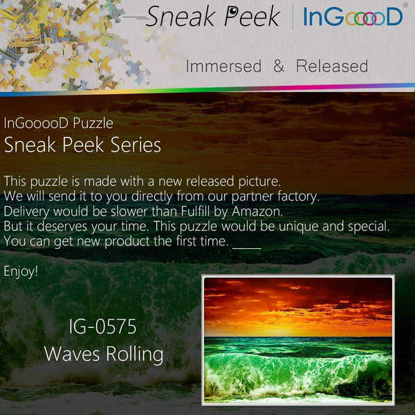 Ingooood-Jigsaw Puzzle 1000 Pieces-Sneak Peek Series-Waves Rolling_IG-0575 Entertainment Toys for Adult Special Graduation or Birthday Gift Home Decor - Ingooood