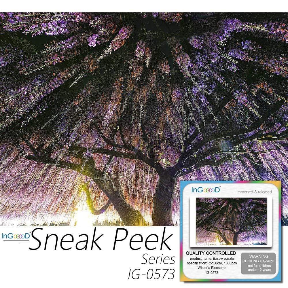 Ingooood- Jigsaw Puzzle 1000 Pieces- Sneak Peek Series-Wisteria Blossoms_IG-0573 Entertainment Toys for Adult Graduation or Birthday Gift Home Decor - Ingooood