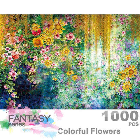 Ingooood Wooden Jigsaw Puzzle 1000 Pieces for Adult - Colorful Flowers Watercolor Painting - Ingooood