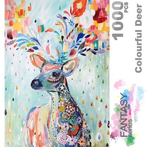 Ingooood Wooden Jigsaw Puzzle 1000 Pieces for Adult - Flower Raindrop Colourful Deer - Ingooood