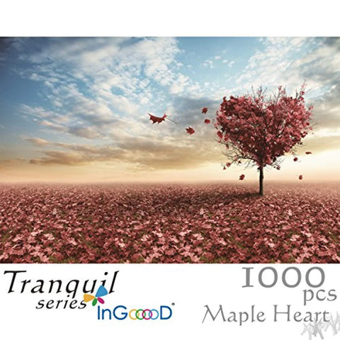 Ingooood Wooden Jigsaw Puzzle 1000 Pieces for Adult - Maple Leaves Heart - Ingooood