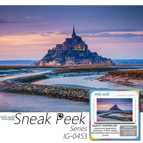 Ingooood Wooden Jigsaw Puzzle 1000 Pieces for Adult - Mont Saint-Michel view in the sunset light - Ingooood