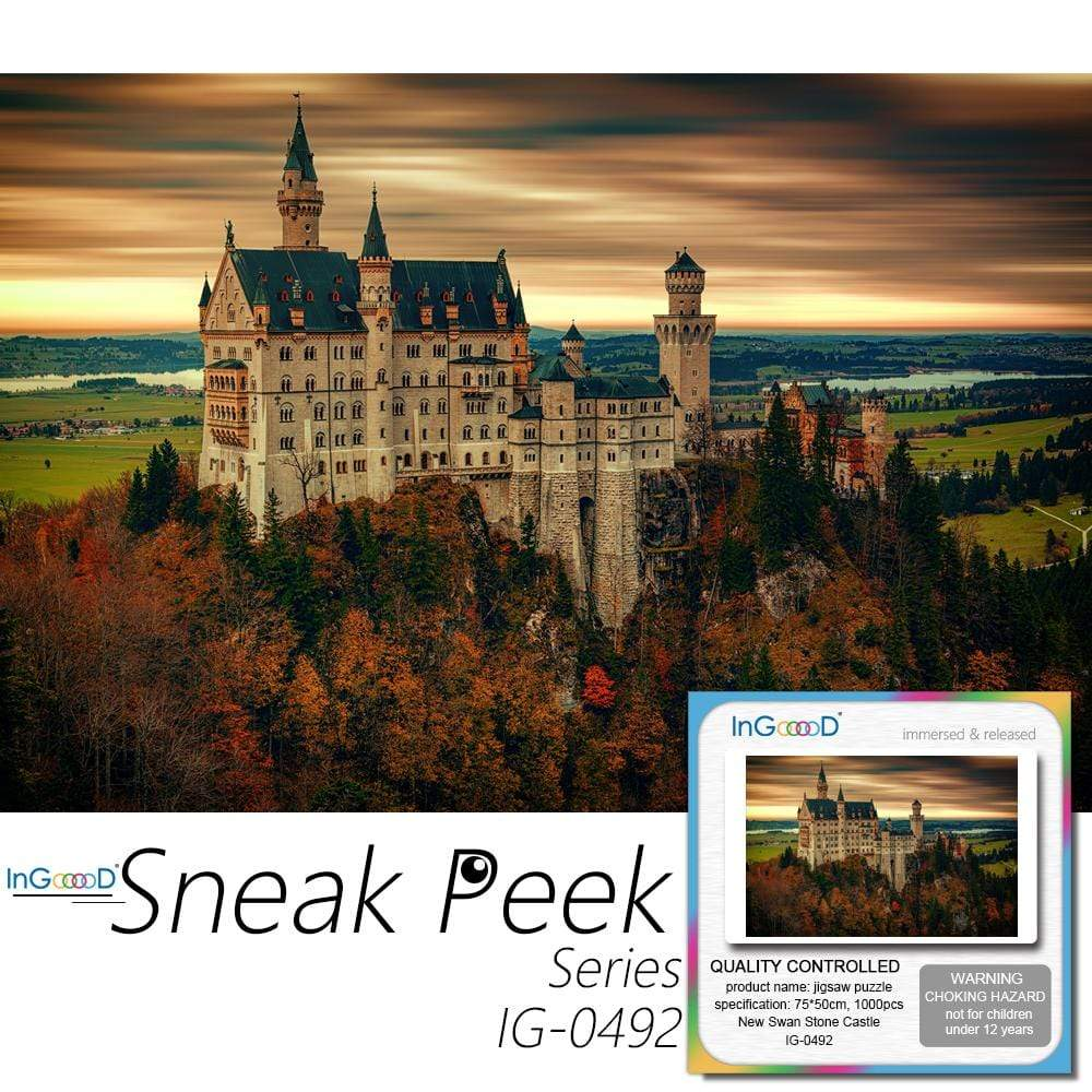 Ingooood Wooden Jigsaw Puzzle 1000 Pieces for Adult - New Swan Stone Castle - Ingooood