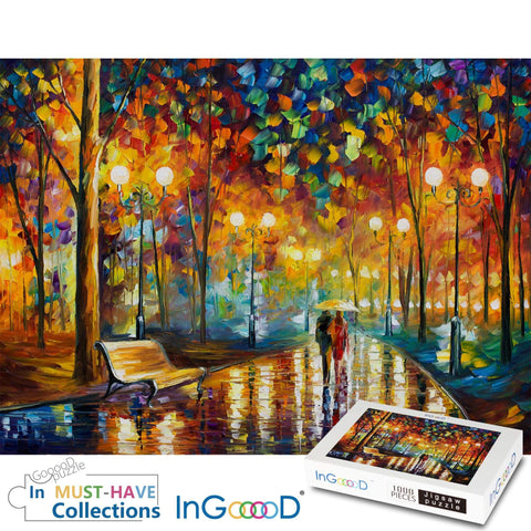 Ingooood Wooden Jigsaw Puzzle 1000 Pieces for Adult - Rainy Night Walk - Ingooood
