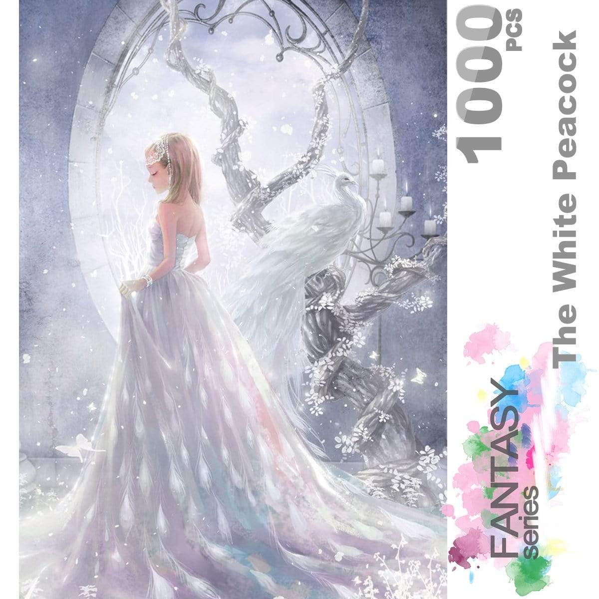 Ingooood Wooden Jigsaw Puzzle 1000 Pieces for Adult - The White Peacock - Ingooood