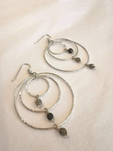 Xenia Earrings - 3 Circle drops with Gemstones