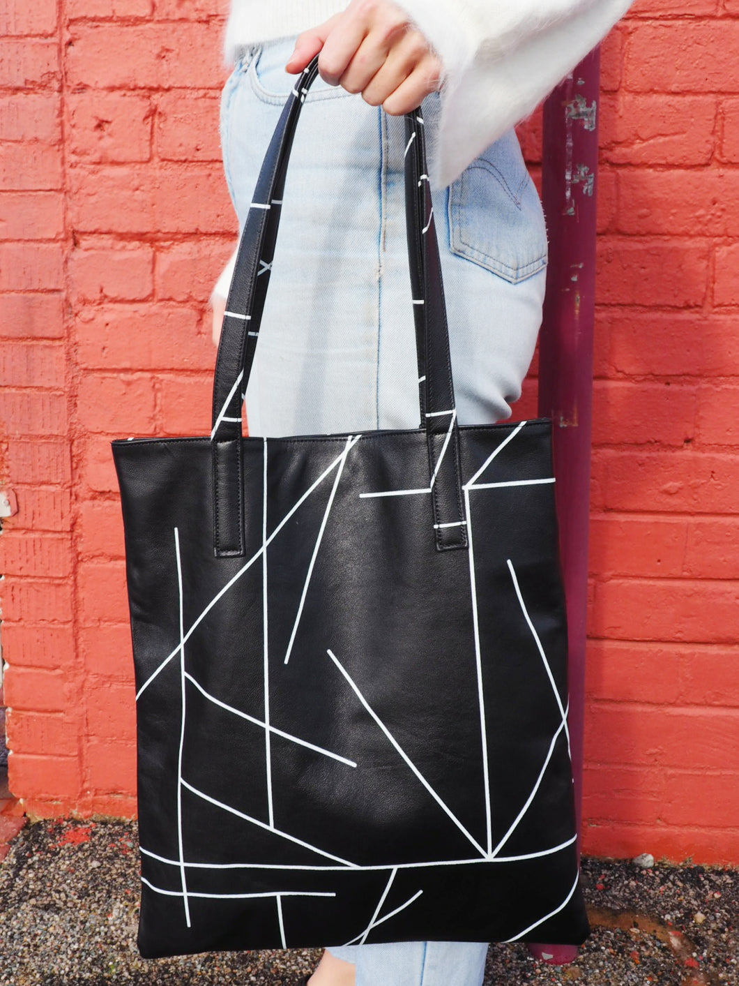 Leather Tote Bag - Print