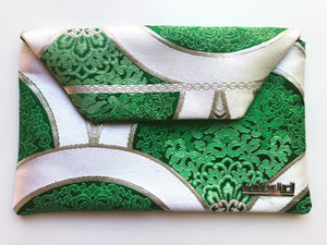Green and Silver Mandala Clutch