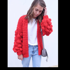 Hello Parry - Eleanor Bubble Knit Cardigan - Red