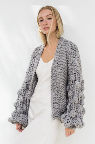 Hello Parry - Eleanor Bubble Knit Cardigan - Grey
