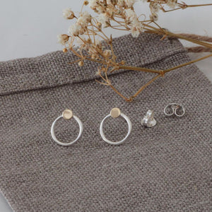 Elli Mini Circle Studs with Gold Dots